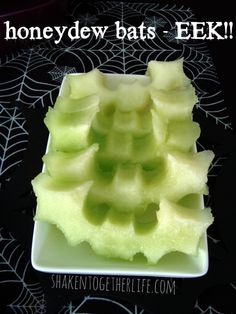 Healthy Halloween snack- Honeydew bats