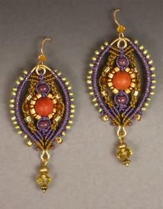 """by Joan Babcock, """"Palazzo"""" earrings in gold and plum with red jasper, plum, gold, and green beads. Gold filled ear wires."""