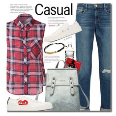 School Style (sleeveless plaid shirt) by beebeely-look on Polyvore featuring Frame Denim, Play Comme des Garçons, Dot & Bo, casual, plaid, jeans, sneakers and sammydress