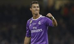 Real Madrid's Cristiano Ronaldo celebrates after scoring his second goal of the game, which put the Spanish side 3-1 up.