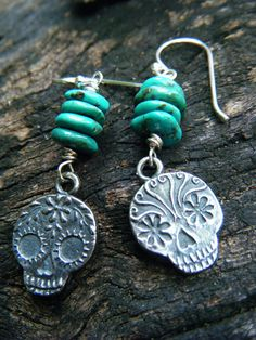 Anne Choi Sugar Skull Turquoise Stack Earrings  by ManakbyDesign, $85.00
