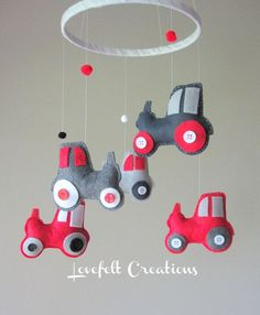 DIY Tractor Mobile - so making this for our next baby if its a boy :) Perfect Colors for IH Tractors!!