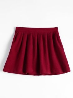 High Waist Pleated Flare Skirt - Deep Red L