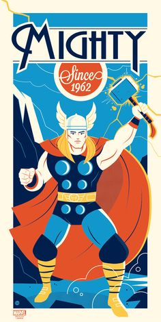 Part of weekly vector inspiration #97. Thor – Mighty Since 1962  by Dave Perillo