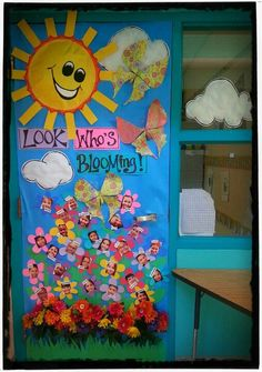Spring door decoration for classroom. Isn't this cheery and pretty? love it