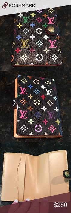 Auth Louis Vuitton mini agenda Black multicolored mini agenda/card holder. Good used condition. Some hairline scratches on the button/clasp that are not very noticeable, and you can slightly see the crease from the inside pocket on the outside front of the agenda (see photos). Date code is too far inside and light to be photographed but is SR1013. Please see ALL photos in this listing and in the ADDITIONAL listing in my closet. A gorgeous piece. Box included, no dust bag. Louis Vuitton Other