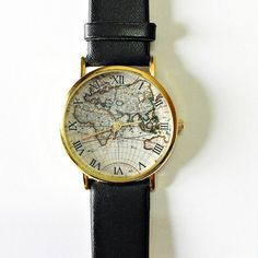 Map Watch, Vintage Style Leather Watch, Women Watches, Mens Watch, Boyfriend Watch, black Watch, World Map, on Etsy, $11.70 AUD  Want !