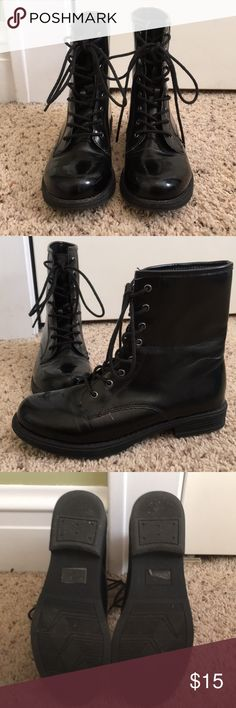 Lace up Boots Faux paten leather military style lace up boots. Very comfortable. Gently used condition. Minor wear as seen in last photos. qupid Shoes Lace Up Boots