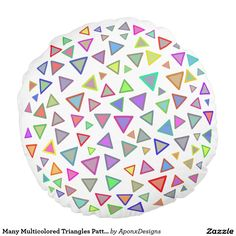 Many Multicolored Triangles Pattern Round Pillow, Triangle Pattern, Knobs And Pulls, Cabinet Knobs, Triangles, Color Patterns, Decorative Throw Pillows, Drawer, Colorful