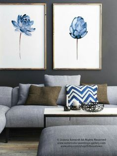 Gray walls with blue and white painting
