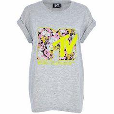 Grey floral MTV print oversized t-shirt £22.00