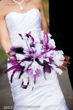 Purple + White feather bouquet :) so pretty!