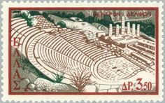 Sello: The Ancient Theatre of Delphi (Grecia) (Greek Theatre) Mi:GR 689 Delphi Greece, Ancient Greek Theatre, Old Greek, Stamp Catalogue, Cartography, Postage Stamps, Vintage World Maps, Tapestry, Architecture