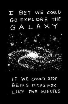 I bet we could go explore the galaxy…