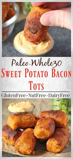 Paleo meals 334110866097679040 - These Paleo Sweet Potato Bacon Tots are easy, delicious, and a healthy version of the classic tot. The sweetness from the potato and the saltiness of the bacon (Paleo Snacks Party) Source by Paleo Whole 30, Whole 30 Recipes, Whole Food Recipes, Cooking Recipes, Fingers Food, Paleo Side Dishes, Paleo Appetizers, Cheese Appetizers, Avacado Appetizers