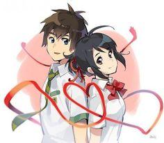 Your Name- Mitsuha and Taki Kimi No Na Wa, Koe No Katachi Anime, Mitsuha And Taki, Manga Anime, Your Name Anime, Studio Ghibli, Ghibli Movies, Anime Films, Animes Wallpapers