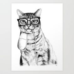 Mac Cat Art Print by Florever - $16.00