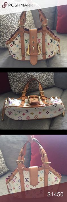"""Authentic Louis Vuitton Theda GM White Multicolor The Louis Vuitton Monogram Multicolore Theda GM bag is truly a stunning piece. This limited edition is a timeless & feminine bag that Louis Vuitton lovers everywhere will want to collect. With its oversized buckle, beautiful studs and exquisite details, you won't want to miss out on this one! In Pristine Condition! Clean inside and out! Interior has One flat pocket. Natural cowhide leather handles with buckle and stud details. Handle Drop: 6""""…"""