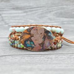 Natural druzy stone Beaded Chain Bracelet Magnet Buckle Wrap Bracelet for Women Girls