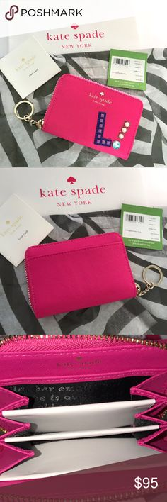 "KATE SPADE Hartley Lane Cassidy L Guaranteed authentic! BNWT! Includes shipping bag and KS tissue paper! Kate Spade Hartley Lane Cassidy L card wallet. Color: Radish with gold tone hardware. Crosshatched leather with matching trim, quick & curious lining, 14-karat gold plated hardware. Exterior features letter ""L"" and ""!"" embellishment, and back slip pocket. Small zip around continental wallet, triple compartment interior. Measurement: 3.9""H x 5.9""L x 0.8""W. Item will be videotaped prior to…"