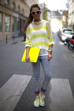 Olive Boutique Yellow Stripe Sweater, ASOS Acid Wash Jeans + Clutch, Zara White Tank, Converse Shoes & H+M Sunglasses