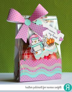 Gift Package by Heather Pulvirenti. Reverse Confetti stamp set: S'more Love. Confetti Cuts: Layered Bow and In the Bag. Valentine's Day gift idea. Friendship gift.
