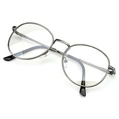a35f78aea596 PenSee Oval Classic Retro Metal Frame Clear Lens Round Circle Eye Glasses