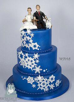 W9148 blue winter wedding snowflake cake toronto oakville