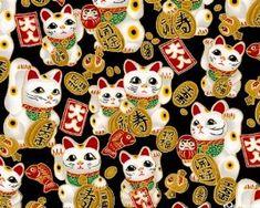 Lucky Cat Wallpaper. Maneki Neko, Neko Cat, Pink Cat, Cat Fabric,