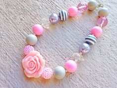 Pink and Grey Chunky Necklace - Large Bead Necklace with Rose - Bubblegum Necklace- Baby Necklace- Toddler Necklace- Girl Necklace on Etsy, $12.95