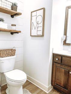 Oct 2019 - Half Bath Shiplap DIY Project Remodel – Kelsey Shackley Half Bath Decor, Half Bathroom Decor, Master Bathroom, Bathroom Furniture, Bathroom Interior, Basement Bathroom Ideas, Bathroom Wall Ideas, Basement Designs, Bathroom Pictures