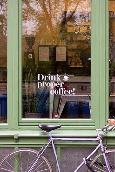 "Slogan ""Drink proper coffee"" uniform design idea for coffee shop or hipster eatery.  www.tailoredimage.com (scheduled via http://www.tailwindapp.com?utm_source=pinterest&utm_medium=twpin&utm_content=post19692598&utm_campaign=scheduler_attribution)"