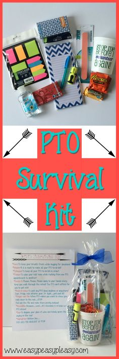 As a PTO President I've learned a thing or two and made a fun printable to go with this kit. This PTO Survival Kit is the perfect gift for PTO or PTA Volunteers!