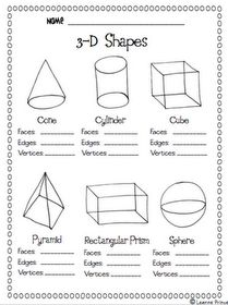 3D shapes activity page