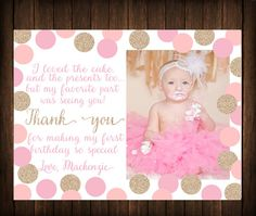 1st birthday thank you card wording thank you pinterest first birthday thank you card pink gold by southernskiedesign bookmarktalkfo Gallery