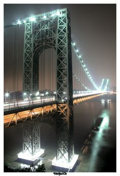 The George Washington Bridge is a double-decked suspension bridge spanning the Hudson River, connecting the Washington Heights neighborhood in the borough of Manhattan in New York City to Fort Lee, Bergen County, New Jersey.