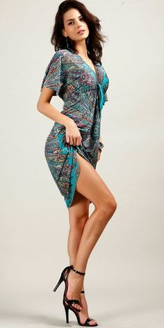Shawhuaa Womens Sexy V-Neck Vintage Summer Tunic Beach Dress at Amazon Women's Clothing store: