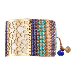 Bracelet Star Flower Blue Turquoise Gold - Mishky - Brazilian Bikini Shop #brazilianbikinishop #BBSFashion #mishky