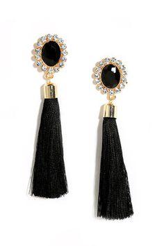 Curtain Close Black Tassel Earrings
