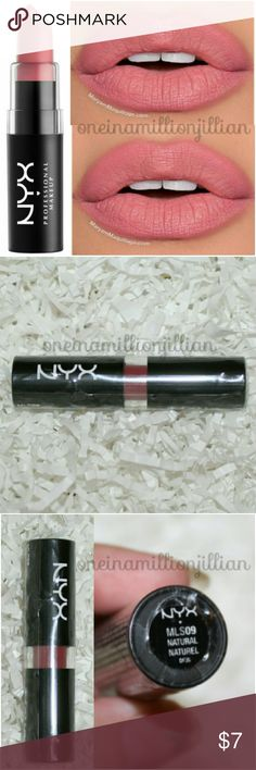 NYX Matte Lipstick - Natural New/Sealed  Full Sz & Authentic  Color: Natural (mauve)  NYX Matte Lipstick is a highly pigmented lipstick that glides on smoothly & stays put. Velvety non-glossy, high-fashion matte finish envelops lips in rich color.  Check my page for more great items & discounts. #oneinamillionjillian NYX Makeup Lipstick