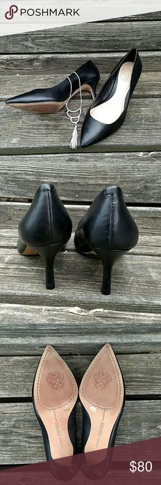 """🚨SALE🚨 Vince Camuto Heel 2.5"""" tapered heel, 3.5"""" at the widest part of the foot. Smooth leather upper with man-made sole. These are the perfect finish for your polished look! NWOT Vince Camuto Shoes Heels"""