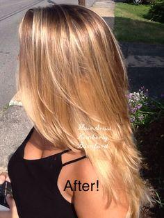 Balayage ombré on natural brown hair. balayage highlights blonde newburyport newburyporthair haircolor