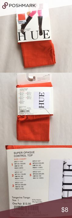 "HUE 🍊 tangerine tango opaque tights NWT! Brand New With Tags! Super Opaque, control-top tights in a bold shade ""Tangerine Tango""! Size 1 (see photo for size chart). HUE Accessories Hosiery & Socks"
