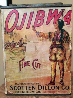 Original Ojibwa Fine Cut Tobacco Country Store Advertising Display Tobacco Smoking, Tobacco Pipes, Smoking Pipes, Vintage Tins, Vintage Ephemera, Dillon Co, Stop Smoking Cigarettes, Cigar Store Indian, Giving Up Smoking