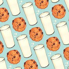 Milk & Cookies Pattern - Blue Leggings by Kelly Gilleran - Medium Food Patterns, Vintage Patterns, Cookies Branding, Cookie Pictures, Blue Coffee Mugs, Buy Milk, Milk Cookies, Retro Recipes, Candy Apples