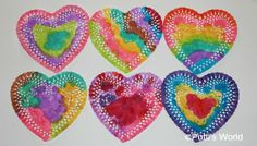 Painted Doily Hearts Craft - Fun and easy craft for the toddler, and can be a fun Valentines Day card insert Kinder Valentines, Valentine Theme, Valentine Crafts For Kids, Valentines Day Activities, Valentines For Kids, Craft Activities For Kids, Preschool Crafts, Holiday Crafts, Daycare Crafts
