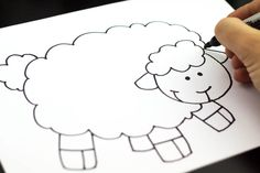 How to draw a graphic art lamb from kidsarthub (go along activity with WARM AS WOOL). Successful with children ages 7-13. We used blank cardstock greeting cards as our paper.