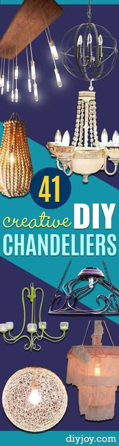 DIY Chandelier Ideas and Project Tutorials -  Easy Makeover Tips, Rustic Pipe, Crystal, Rustic, Mason Jar, Beads. Bedroom, Outdoor and Wedding Girls Room Lighting Ideas With Step by Step Instructions http://diyjoy.com/diy-chandelier-ideas