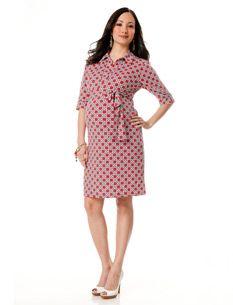 Laundry By Shelli Segal Elbow Sleeve Shirt Dress Maternity Dress