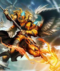 """Arcanjo Miguel: lidera os exércitos de Deus contra as forças de Satã e seus anjos e os derrota durante a guerra no céu. É o mais poderoso dos arcanjos. É conhecido como """"o matador de demônios"""""""